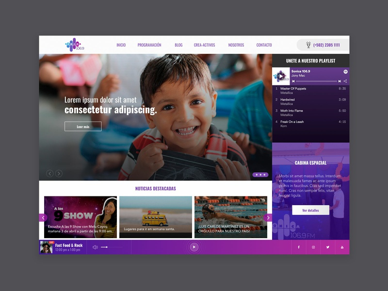 Radio WebSite purple music brand web radio guatemala home designer homepage branding prototype webdesign web design ux ui design website