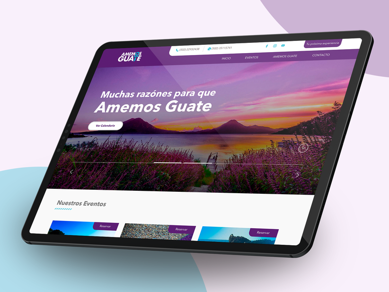 Amemos Guate Tours viajes tours travel home web design landing homepage web brand prototype webdesign design guatemala ux ui website