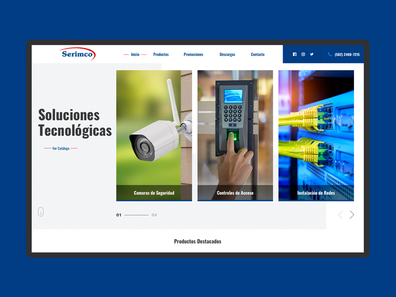 Serimco WebSite networks security camera catalogue home logo homepage branding webdesign prototype web web design guatemala design website ux ui