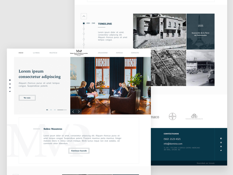 Molina Mencos, Pineda & Asociados WebSite white minialista legal law law firm brand web prototype branding home homepage webdesign web design guatemala ux ui website design