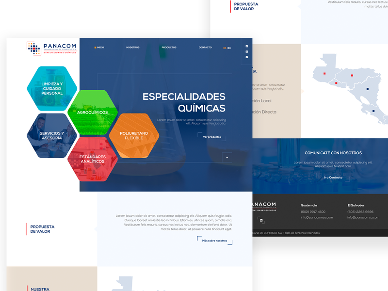 Panacom WebSite hexagons blue chemistry quimicos chemical branding designer home webdesign homepage web web design guatemala website design ui ux