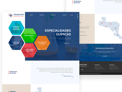 Panacom WebSite hexagons blue chemistry quimicos chemical branding designer home webdesign homepage web web design guatemala website design ui ux
