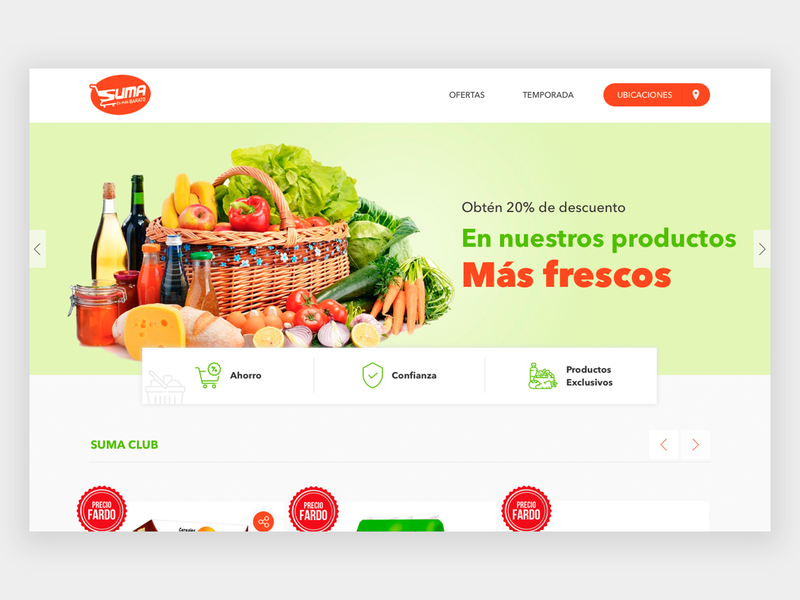 Suma supermarket marketplace catalogue designer web design home homepage webdesign prototype web brand guatemala ux ui website design