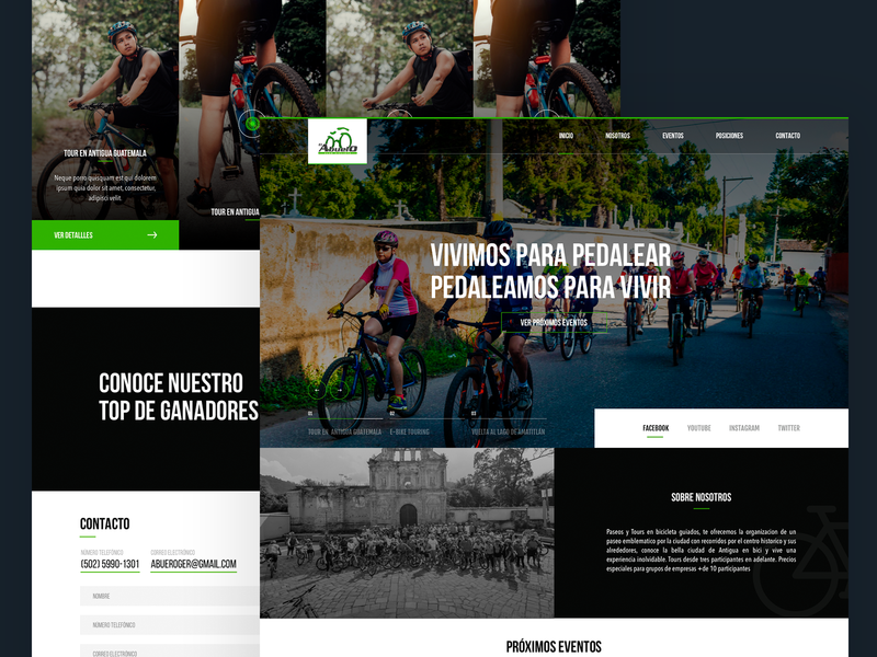 Ciclist Club biker landing home homepage webdesign prototype web branding guatemala ux ui website design