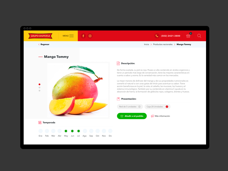 Dispersa yellow red fruit product detail product page web prototype guatemala design ui ux website