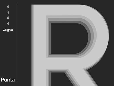New Font Teaser | Punta Works abstraction minimal font design weights stylized serif sans white black teaser font