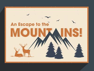 Postcard Design vector illustration postcards mountainscalling design post postcard dribbbleweeklywarmup thirtylogos