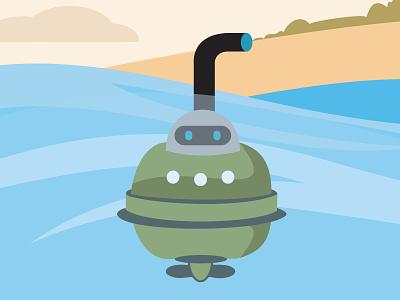 Navy Mission R-Me Robot navy army mascot illustrator coreldraw design illustration vector