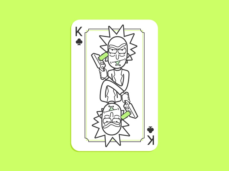 Rick And Morty Playing Card pickle rick design line art animation illustration king playing card rick and morty