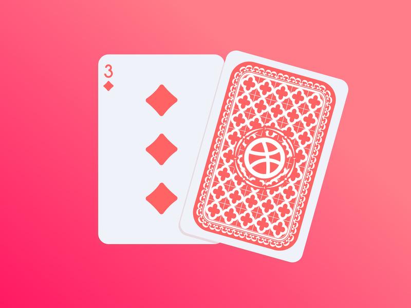 3 Dribbble Invites three invitation dribbble invite playing card illustration design flat