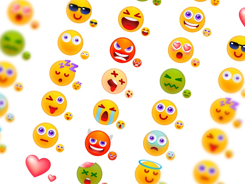 Emoji design set faces cute colorful vector ux ui messenger sticker illustration icons emoji charcaters