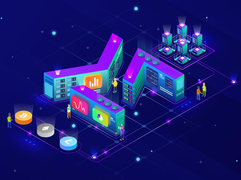 Cryptocurrency Illustration blockchain multivac glowing isometric ethereum litecoin bitcoin cryptocurrency design illustration