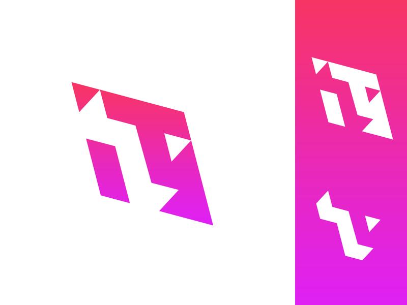 T Logo single letter flat design 3d minimal t type lettering monogram logo