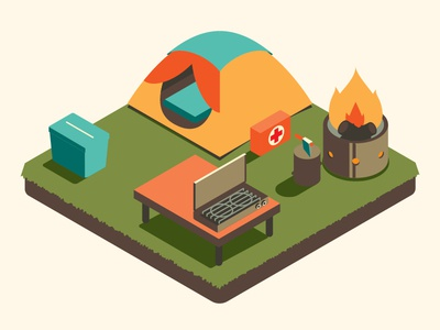 Camping Essentials digital infographic editorial fun vector illustrator illustration cooking fire tent camping