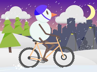 Winter Biking city design night snow snowman winter bike illustration