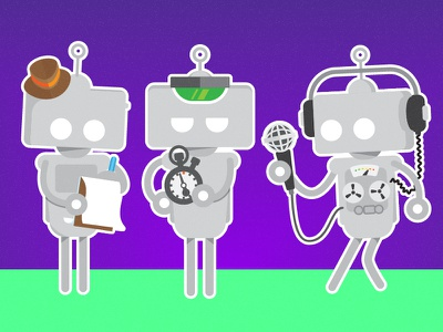 Boardroom Bots corporate office cute illustrator robots illustration ai