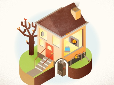 Autumnal House illustrator warm vector home infographic autumn winter fall house cozy illustration