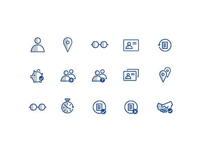American Express Icon Set line art mobile app mobile blue gray monoweight icon set set icons