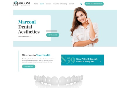 Marconi Dental Aesthetics typography vector logo design web design ux design ux uidesign ui graphic design