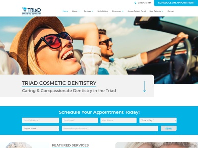 Triad Cosmetic Dentistry web development web design web ux design ux ui designer design uidesign ui graphic design dentistry dentist dental care dental