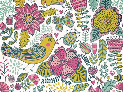 Flowers doodle flower pattern bird