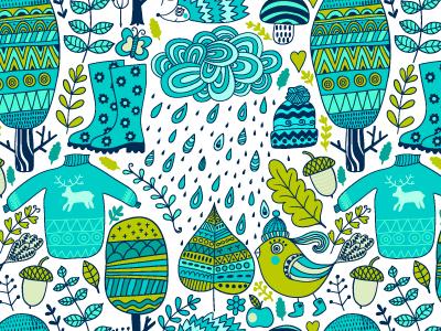 Autumn pattern pattern seamless doodle forest rain autumn