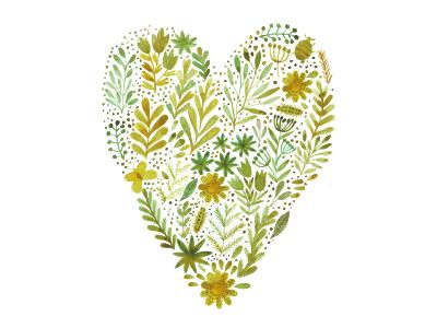 ♥ green eco watercolor flower love heart