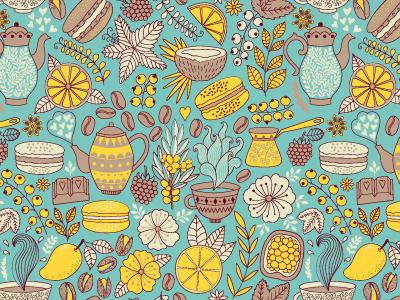https://www.behance.net/gallery/21382351/Macarons-Pattern pattern seamless doodle surface macarons tes paris