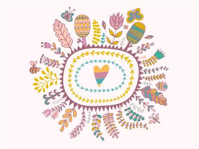 Lovely wreath frame illustrator doodle frame wreath
