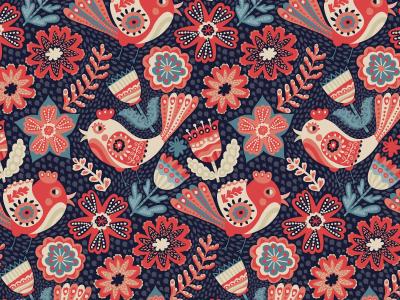 Folk floral pattern seamless pattern folk