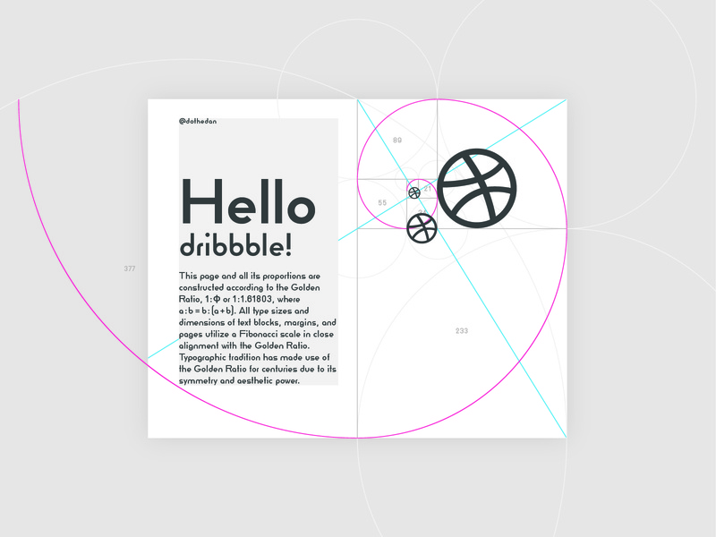 Hello Dribbble! geometry layout design proportion typography