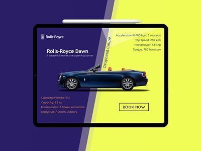 Rolls Royce Dawn Landing UI xd ai ps ux ui