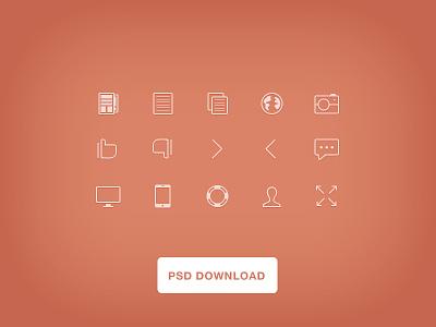thin icons psd. psd freebie ios7 thin line icons free design
