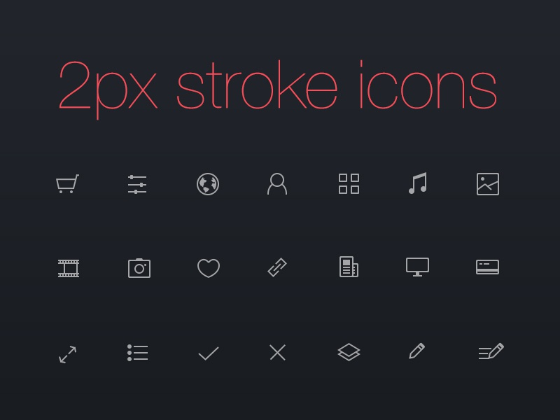 Thinicons - free psd stroke strokeicons icons ios7 ios lineicons free freebie psd line