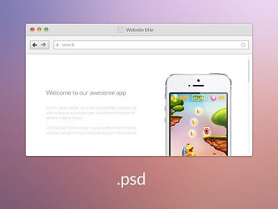 web-browser psd browser ui design psd freebie asset photoshop free web webdesign