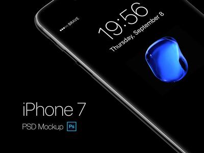 Jetblack psd mockup layered iphone7 7 iphone design freebie mockup psd