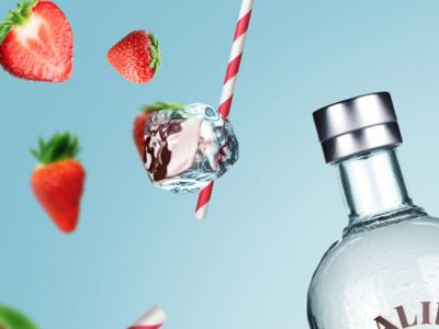 Malibu fruit concept rum liquor depth fruit design visual ad