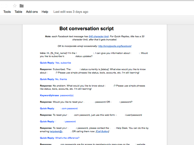 Facebook Messenger Chatbot - Conversation Script by Grant P on Dribbble