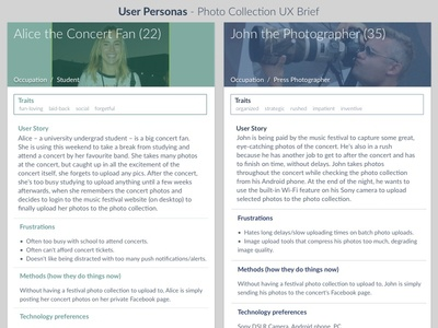 User Personas - Photo Collection UX Brief