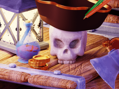 Skull 3D model pirate skull 3d blender 3d