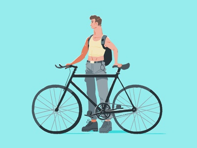 002 - Fixie Bloke photoshop color bike man illustrator brisbane drawing illustration