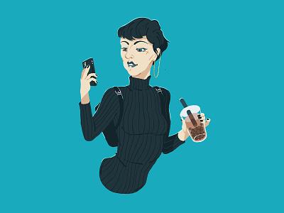 005 - Stylish Bubble Tea photoshop photoshop art girl illustrator brisbane drawing design illustration