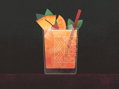 Mai Tai tropical illustration design spirit cocktail alcohol drink tai mai