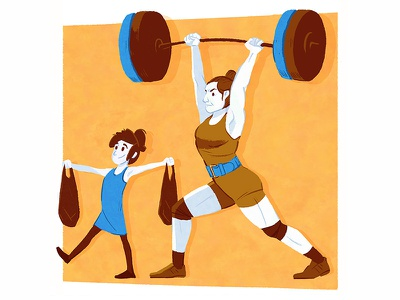Olympic Weightlifter weightlifting weights drawing design illustration