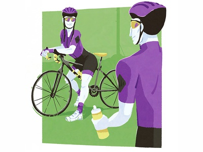 Cyclists rider bike bicycles drawing design illustration