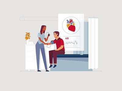 Heart Health Check health heart professional medical drawing ux ui branding vector design illustration