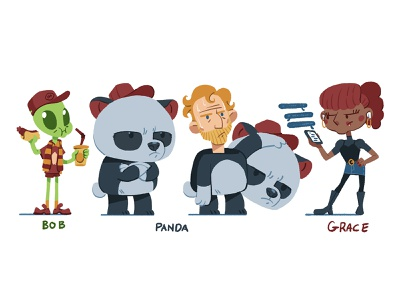 Pitch Character Designs clean creative character design concept alien panda character design drawing illustration