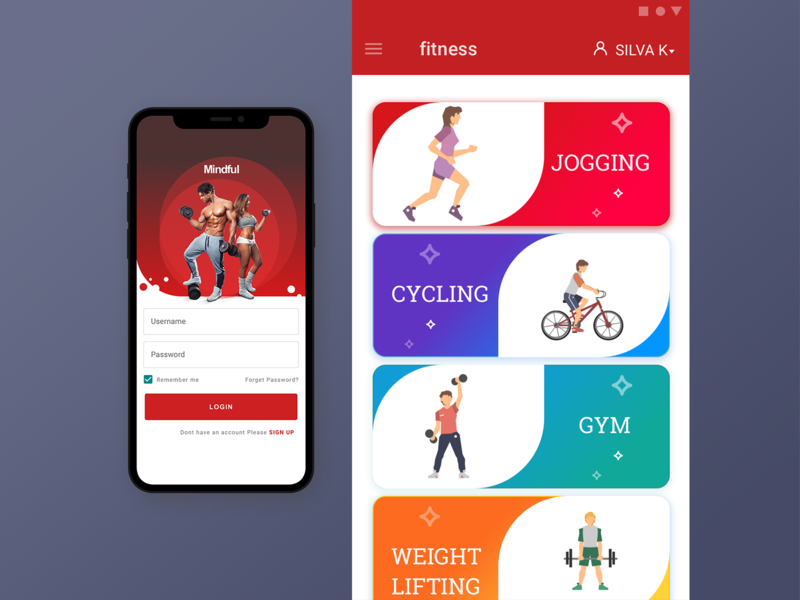 Gym,workout app yoga ux gym. ui workout