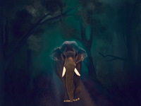 Digital painting kerala elephant