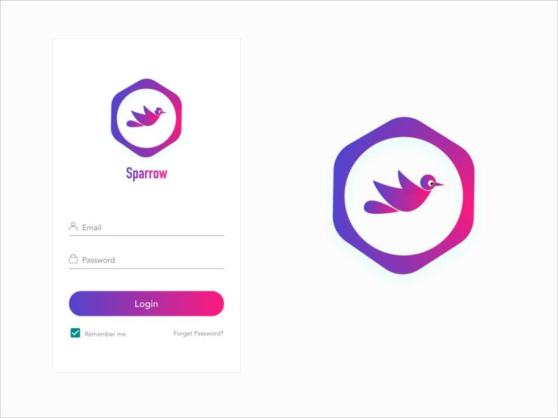 sparrow illustration art android mobile app design mobile ui mobile app login typography design illustraion